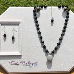 Deep Green Gemstones and Grey Swarovski Crystal Necklace Set