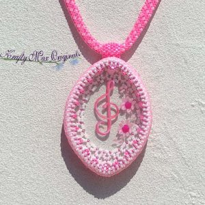 Pink Music Note and Flowers Beadwoven Wearable Art Necklace with Center from Wildlife Plastics