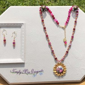 Vintage Pink Gemstone and Swarovski Crystal Necklace Set from Grandmothers Stash