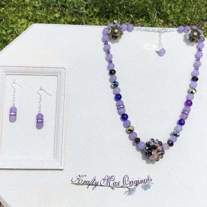 Purple Gemstone and Sparkle with Bold Center Necklace Set with Beads from Jessie James Beads