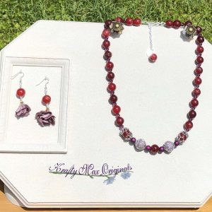Red and Purple with Flowers Necklace Set with Beads from Jessie James Beads