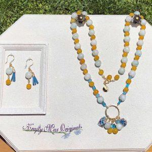 Teal and Yellow Gemstones LONG Necklace Set with Beads from Jessie James Beads
