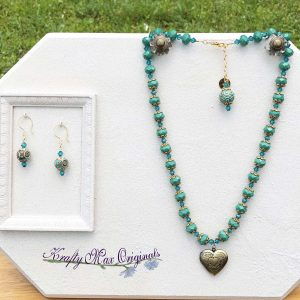 Turquoise and Gold Locket Necklace and Earrrings with Beads from Jessie James Beads
