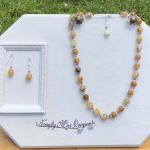 Yellow – Amber Gemstones and Swarovski Crystal Necklace and Earrings Set