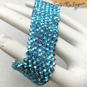 Bright Blue Swarovski Crystal Beadwoven Bracelet