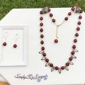 Deep Rose Gemstones and Vintage Glass Necklace Set