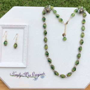 Green Gemstone Necklace and Earrings Set
