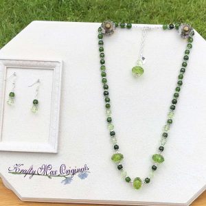 Green on Green with Vintage Acrylic Necklace Set