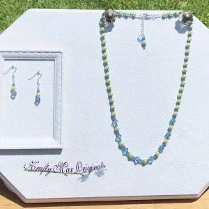 Lime Green Hemalyke and Teal Swarovski Crystal Necklace Set