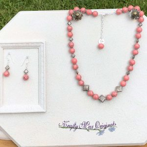Pink Gemstones with Silver Plated Diamonds Necklace Set