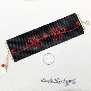 Red Ribbon (on Black) Beadwoven Bracelet / Cuff