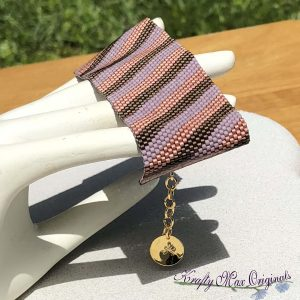 Mauve (Pink) Stripes Beadwoven Bracelet