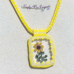 Yellow Sunflower Beadwoven Wearable Art Necklace with Center from Wildlife Plastics