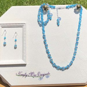 Blue Crackle and Dyed Jade Necklace, Bracelet and Earrings Set