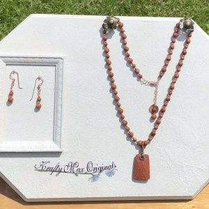 Goldstone and Copper Necklace and Earrings Set