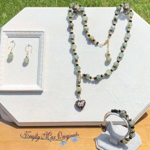 Green and Black with Cloisonné Heart Necklace Set