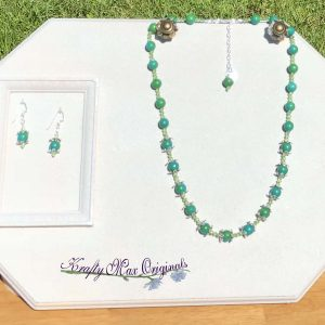 Its all about the GREEN Necklace and Earrings Set with Swarovski Crystals