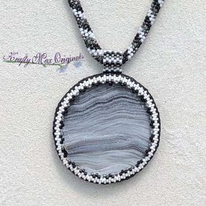 Black White and Grey with a Grey Druzy Stone Beadwoven Wearable Art Necklace