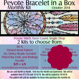 Peyote Bracelet in a Box Monthly Kit October 2018 Kit A