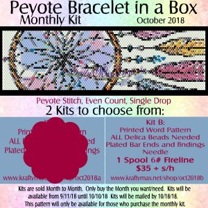 Peyote Bracelet in a Box Monthly Kit October 2018 Kit B