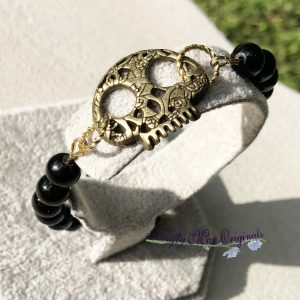 Black Gemstone and Antique Gold Skull Bracelet