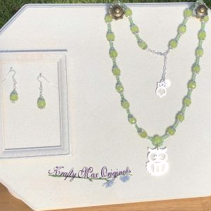 Green Agate and Swarovski Crystal Owl Necklace Set