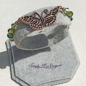 Green Swarovski Crystal and Copper Butterfly Bracelet