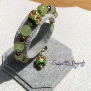 Green Gemstone and Red Swarovski Crystals with Cloisonné Bracelet