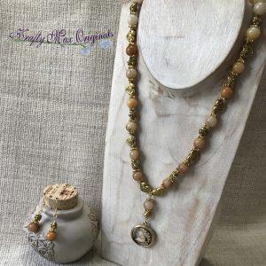 Open Face Cameo Gemstone Necklace Set