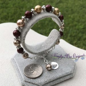 Burgundy and Cream Swarovski Pearls Bracelet