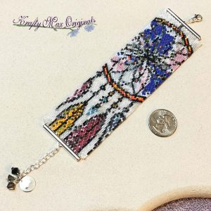 Dream Catcher with Feathers Beautiful Beadwoven Bracelet / Cuff