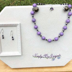 Purple Magnesite with Purple Swarovski Crystal Necklace Set