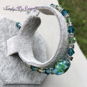 Green and Teal Swarovski Crystal Bracelet
