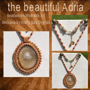 the beautiful Adria Beadwoven Brown Agate Slice Wearable Art Necklace