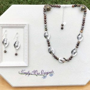 Brown, Green and Grey Gemstone with Silver Plated Suns Necklace Set