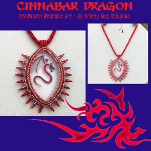 Cinnabar Dragon Beadwoven Wearable Art Necklace with Center from Wildlife Plastics