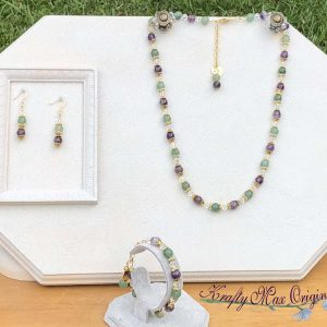 Green and Purple with Swarovski Crystal 3 Piece Necklace Set