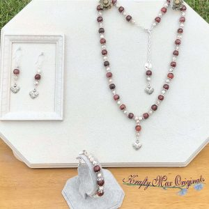 Rhodenite and Hearts 3 Piece Necklace Set