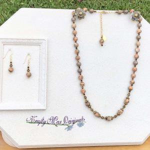 Safari Jasper and Swarovski Crystal Necklace Set