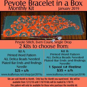 Beadwoven Bracelet of the Month Kit January 2019 Kit A