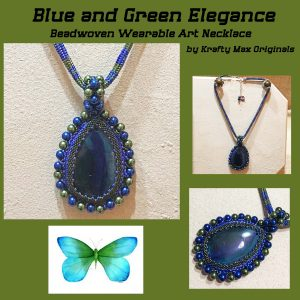 Blue and Green Elegance Beadwoven Wearable Art Necklace