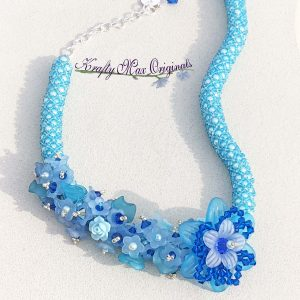 Blue on Blue Flowers and Netting Beadwoven Necklace