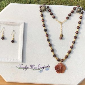 Red Tigereye and Gemstone Flower Necklace Set