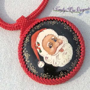 Wood Hand Painted Santa Beadwoven Necklace
