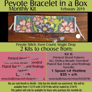Beadwoven Bracelet of the Month Kit February 2019 Kit B