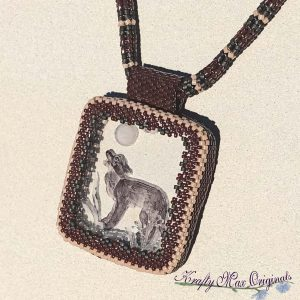 Brown Wolf Beadwoven Necklace with Center from Wildlife Plastics