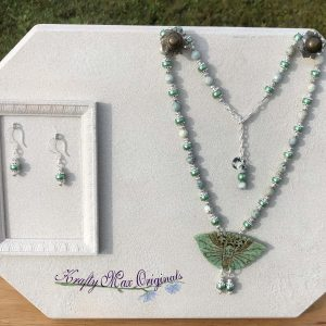 Teal Butterfly and Pearls Necklace Set