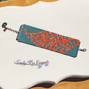 Orange Leaf on Teal BMK Beadwoven Bracelet