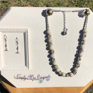Petrified Palm Wood with Flowers Necklace Set