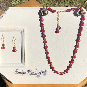 Red Gemstone and Purple Glass Pearls Necklace Set